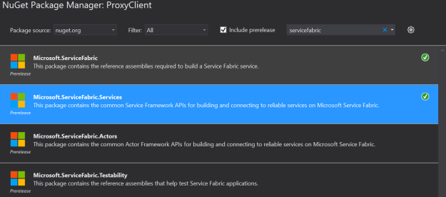 Azure Service Fabric NuGet Package