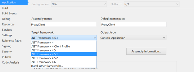 Modify Target Framework