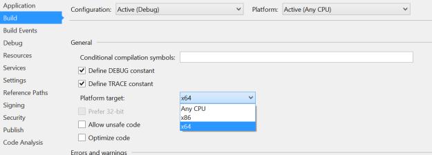 Modify Platform Target